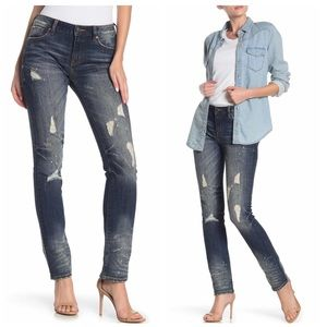 Rock Revival Mid Rise Straight Distressed  Jeans
